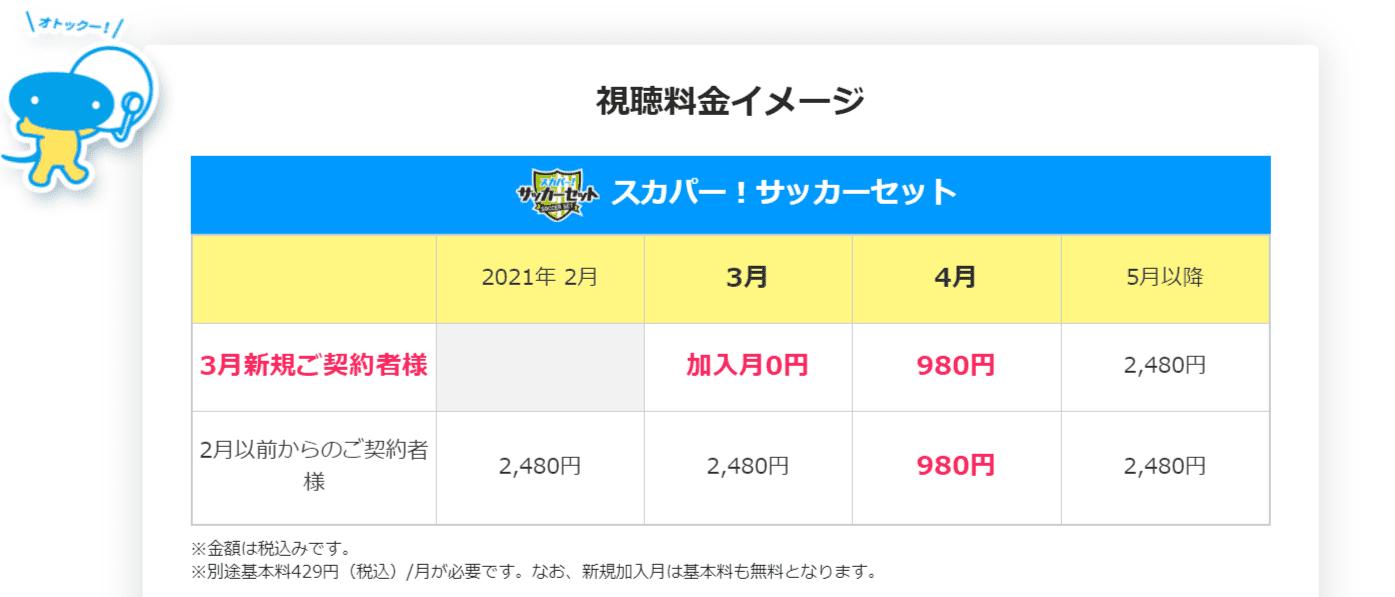 【980円キャンペーン】3_1申し込み開始!スカパー!サッカーセット