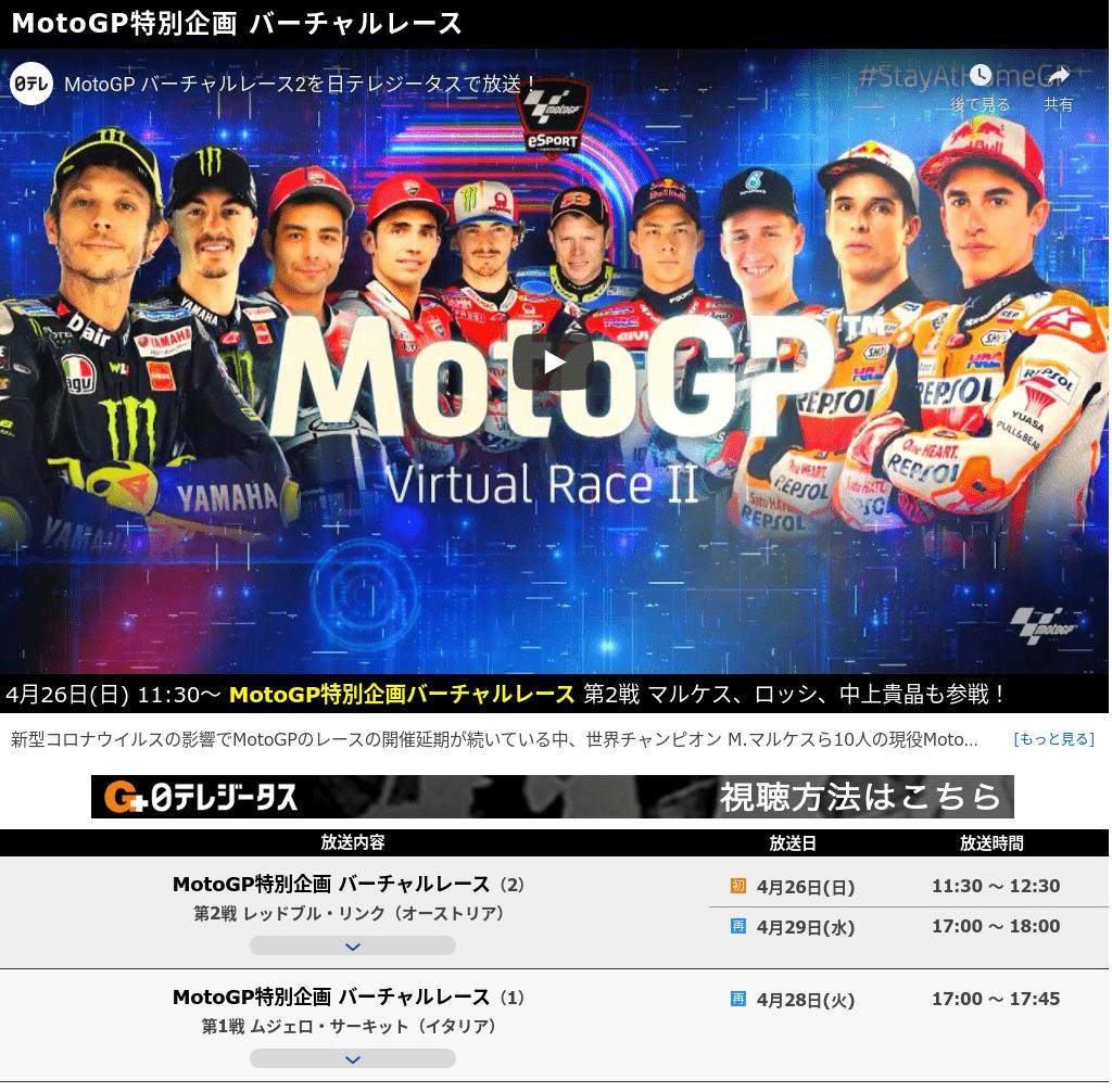 MotoGP特別企画バーチャルレースモータースポーツ
