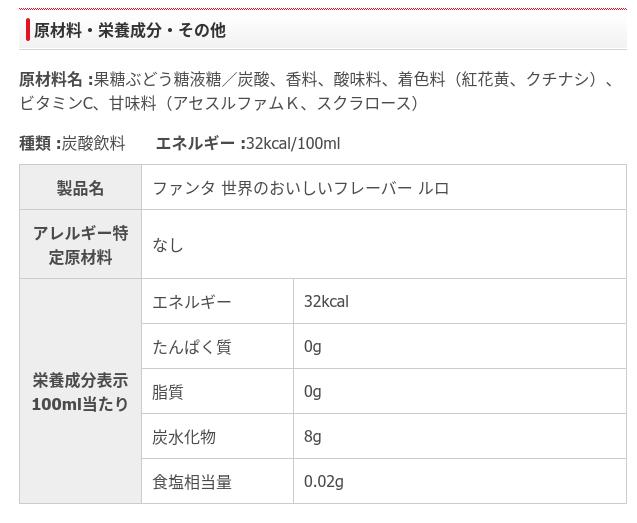 日本コカ・コーラ製品情報ファンタルロ