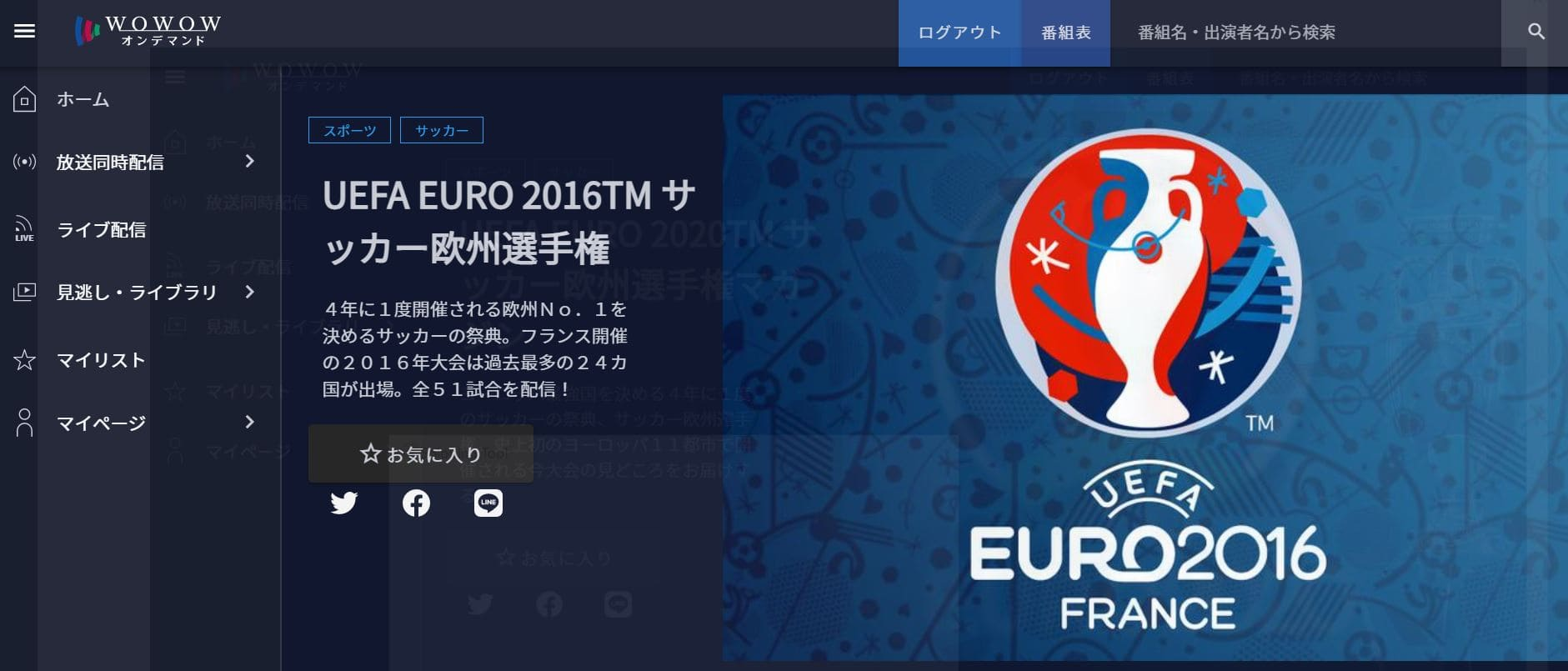 UEFAユーロ2016サッカー欧州選手権見逃し配信