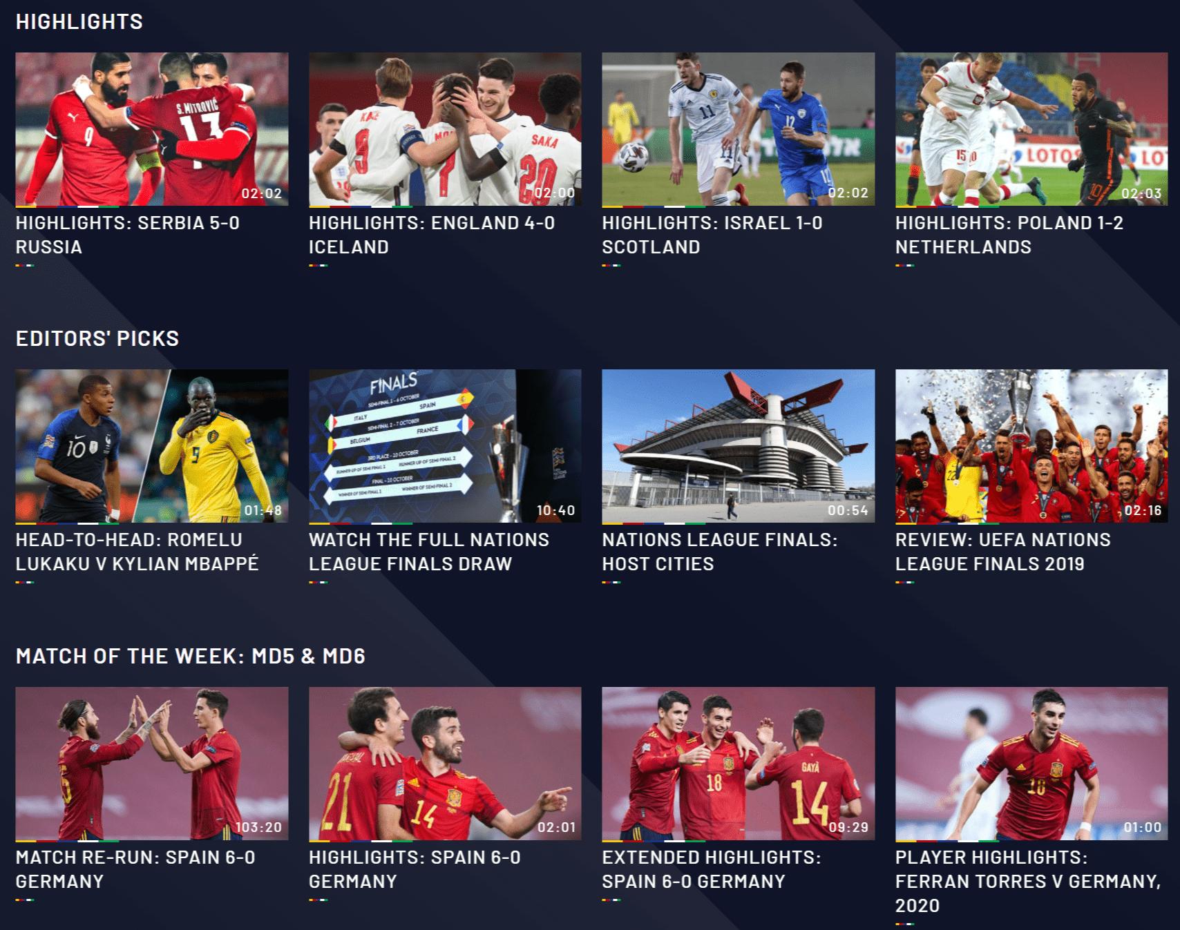 UEFA_Nations_League_UEFAtv_過去のハイライト動画_フルマッチ動画